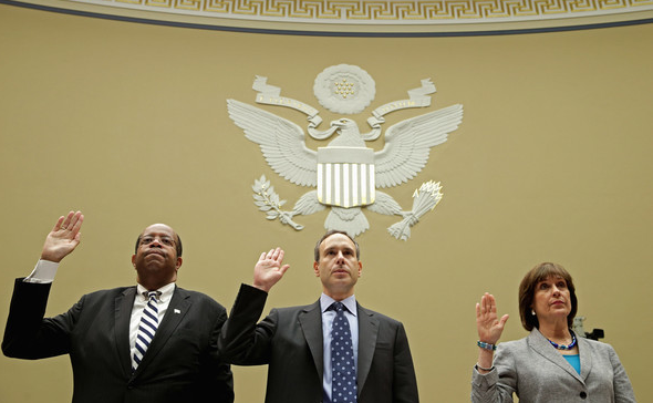 From left to right: IRS IG Russell George, former IRS Commissioner Douglas Shulman, and Lois Lerner, Director of Exempt Organizations