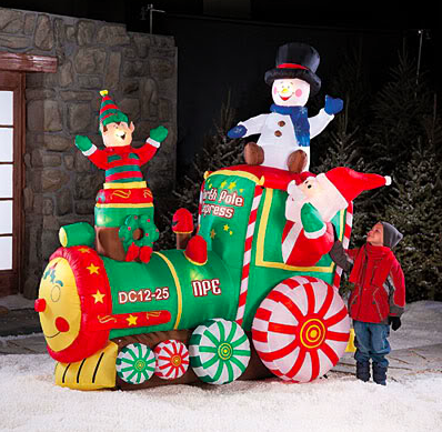 sky mall inflatable Christmas train