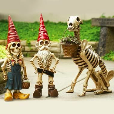 sky mall skeleton gnomes